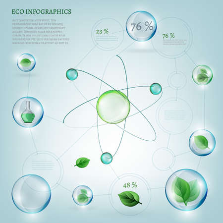 The illustration of bio infographics with green leaves in transparent bubbles. Ecology set.