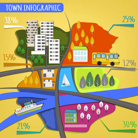 resident: Vector illustration of abstract eco town infographics. Vector image. Illustration