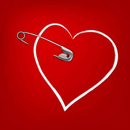 pinned: The illustration of a pinned red hearts. Vector image. Illustration