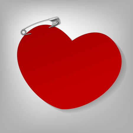 pinned: The illustration of a pinned red heart. Vector image.