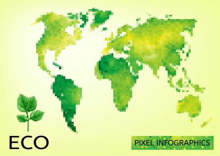 environmentally: Vector mosaic Illustration of environmentally friendly World map. Think Green. Ecology Concept.