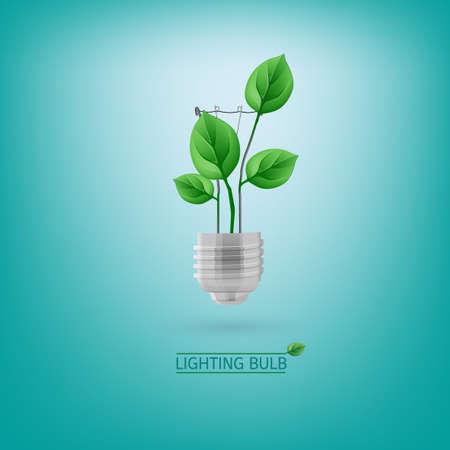lighting bulb: The illustration of ecological green lighting bulb. Vector image.