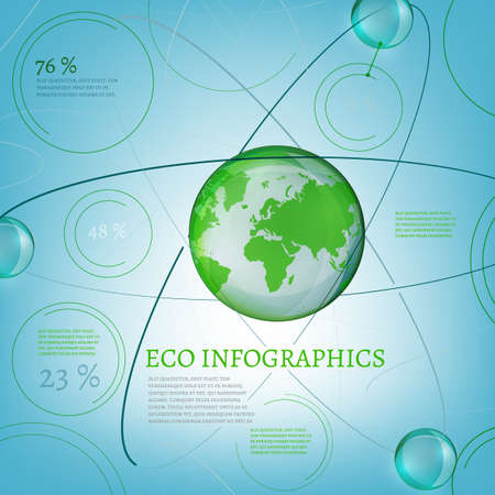 atomic structure: The illustration of bio infographics with world map and atomic structure. Ecology set.