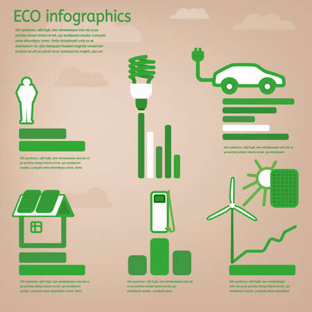 The illustration of bio infographics with green eco objects on the beige background. Ecology set.