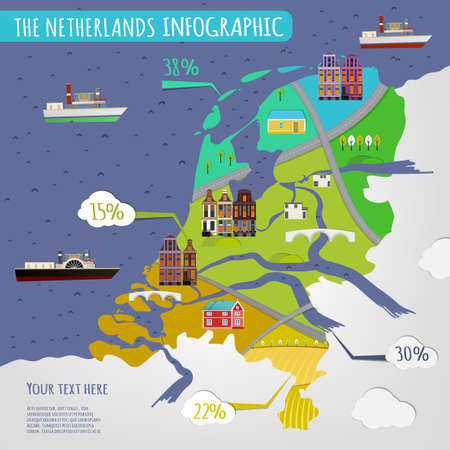 infochart: Vector illustration of The Netherlands infographics with stylish roads, rivers and buildings. Vector image.