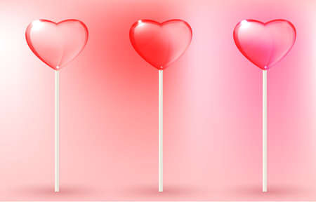 lolli: Vector illustration of the transparent lollypops on the pink background