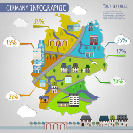 Vector illustration of Germany infographics with stylish roads rivers and buildings. Vector image.