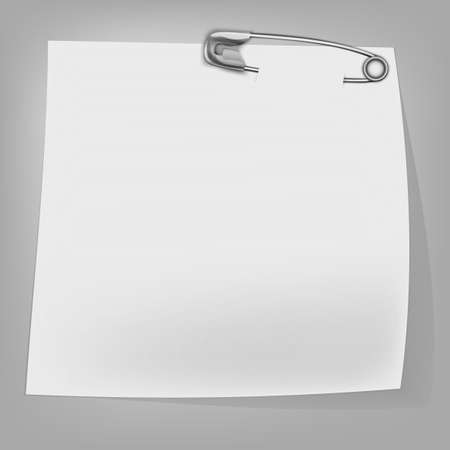 The illustration of a safety pin with a banner. Vector image.