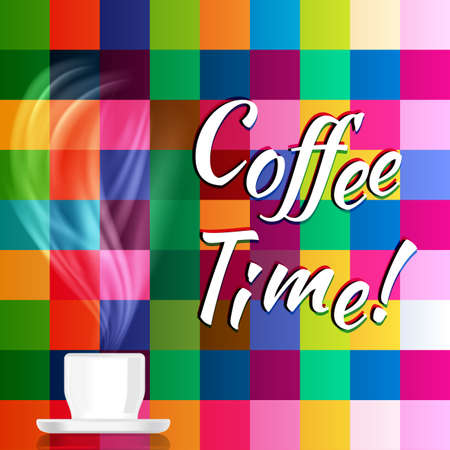chequer: Vector background with coffee cup and steam on a colourful mosaic background.