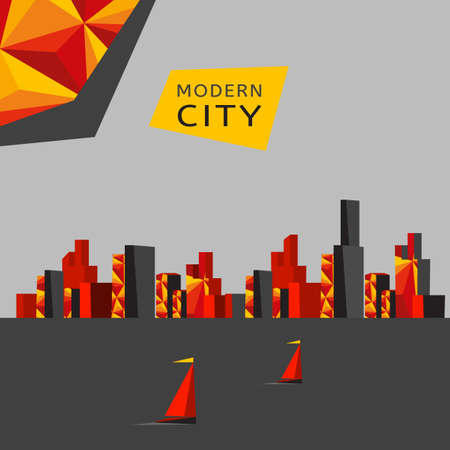 Modern cityscape design with polygonal elements. Stylish vector concept. Vector