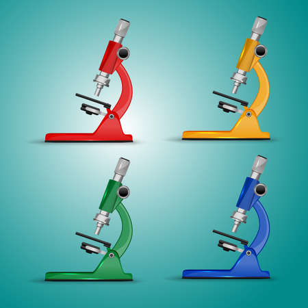The illustration of detailed multicoloured microscopes. Vector image. Illustration