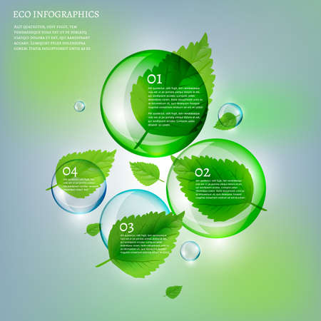 leaflet design: The illustration of beautiful scientific bio infographics with transparent bubbles and fresh leaves. Ecology concept. Vector image. Ideal for brochure, poster and leaflet design.