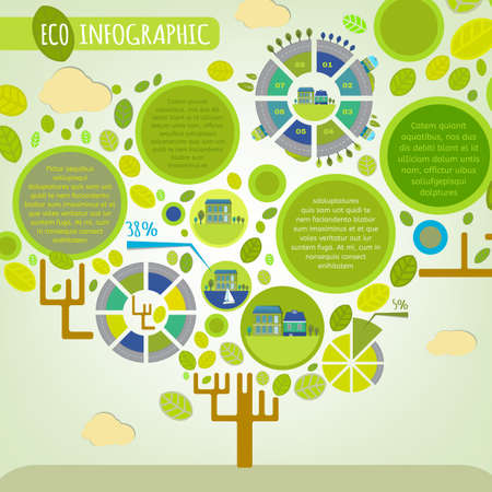 The illustration of beautiful green town infographics in a shape of a tree with leaves, charts and symbols. City ecology concept. Vector image. Ideal as a brochure and leaflet design template.