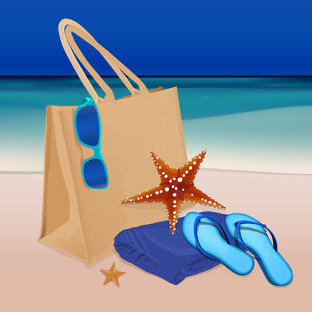 thongs: The illustration of  beautiful realistic beach bag with thongs, towel and googles on a seashore. Totally vector image. Illustration