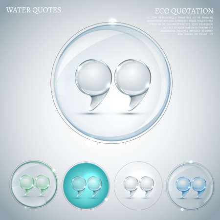 The illustration of  transparent quotation marks in round speech bubbles. Ideal for clean and pure ecological designs. Useful in ecological brochure, print and poster. Totally vector image. Vector