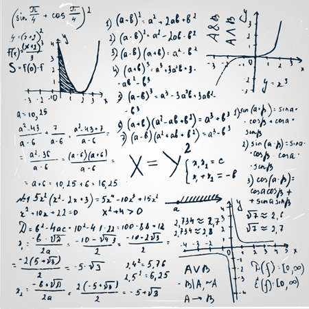 algebraic: The illustration of beautiful scientific background with black handwriting typography. Algebraic class board. Totally vector fully scalable image.