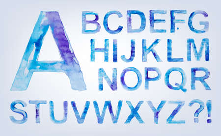 carefully: Beautiful decorative handmade typeset with english watercolor alphabet and numbers. Carefully hand drawn and transfomed to fully scalable vector format.