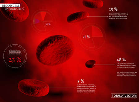 The illustration of bio infographics with blood cells in beautiful realistic style. Medical industry, biotechnology and biochemistry concept. Totally vector scalable image for scientific medical designs. Ilustração