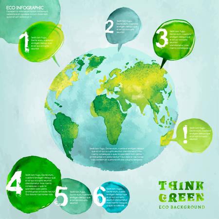 globe: Vecteur aquarelle dessin� � la main peint Illustration �cologique carte mondiale. Pensez � l'environnement. Ecologie Concept image de globe avec. �l�ments infographiques pour affiche, brochure et la conception de notice.