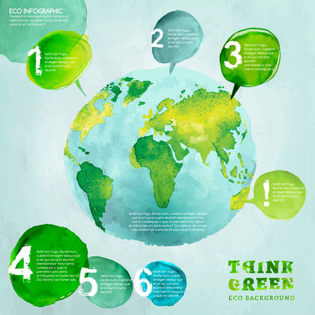 Vector watercolor hand drawn painted Illustration of environmentally friendly World map. Think Green. Ecology Concept with globe image. Infographic elements for poster, brochure and leaflet design.
