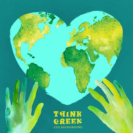 Vector acuarela dibujado a mano Ilustración pintada del medio ambiente Mapa del mundo. Piense verde y salvar la Tierra. Ecología y el concepto de protección. Globo imagen de la acuarela del vector.