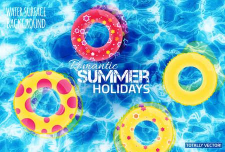 Mooie illustratie van het water oppervlak met zon reflecties. kleurrijke Totally vector. Heldere opblaasbare gele en rode rubberen ringen. Ideaal zwembad, bassin, vijver, zee en oceaan textuur. Stock Illustratie