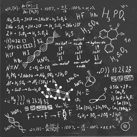 scalable: The illustration of beautiful black scientific background with handwriting typography. Chemical class blackboard. Totally vector fully scalable image.