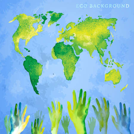 think safety: Totally vector watercolor hand drawn painted Illustration of environmentally friendly World map. Think Green. Ecology Concept with voting raising hands. People vote for protection and safety! Illustration
