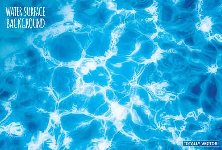 De afbeelding van het water oppervlak met zon van bezinningen het totaal vector kleurrijk. Ideaal zwembad, de zee en oceaan textuur.