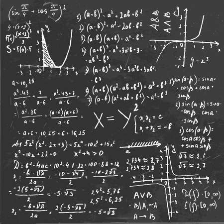 The illustration of beautiful black scientific background with handwriting typography. Algebraic class blackboard. Totally vector fully scalable image. Illustration