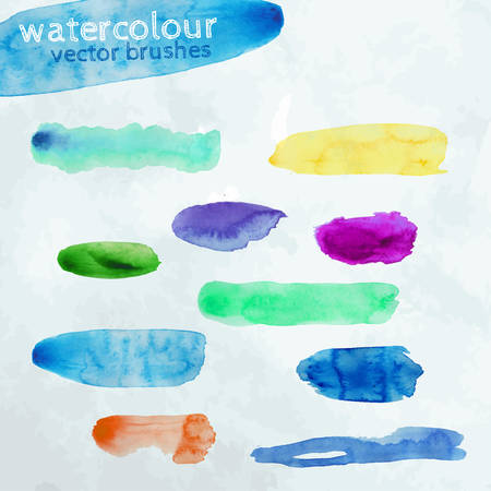 paper texture: The illustration of colorful vector watercolour brush strokes. Can be easily used as brushes in designers programs. Carefully hand drawn and transfomed to vector format.