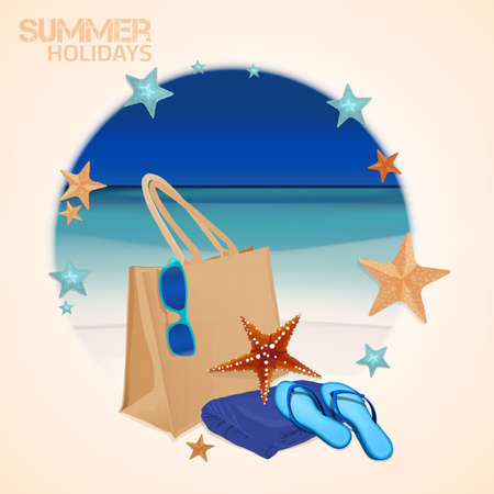 thongs: The illustration of  beautiful realistic beach bag with thongs, towel and googles on a seashore. Totally vector image in a circle decorative frame.