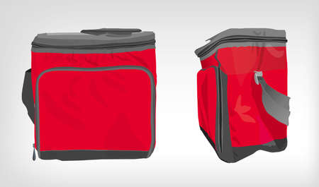 cooler boxes: The illustration of  beautiful colorful cooler bag. Ideal template for branding mock ups and souvenirs. Vector image. Illustration