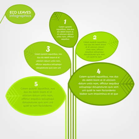 leaflet design: The illustration of beautiful bio infographics with leaves and tree. Ecology and biology concept. Vector image. Ideal as a brochure and leaflet design template.