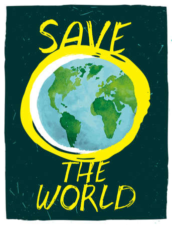 other space: The illustration of beautiful hand drawn Save the World background with globe and space texture. Ideal for poster, brochure and other designs. Totally vector image.