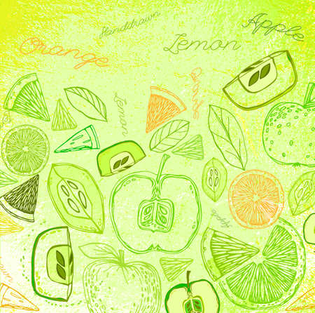 green floral: The illustration of  beautiful hand drawn fruits on a textured background in fresh and juicy style. Totally vector image. Menu element for cafe or restaurant. Fresh juice for healthy life. Illustration