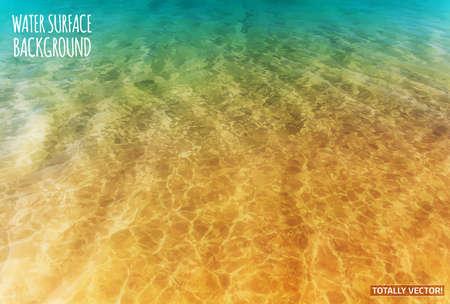 oceano: La ilustración de la superficie del agua con sol reflections- imagen totalmente vectorial colorido. Ideal lago, el mar y la textura del océano.
