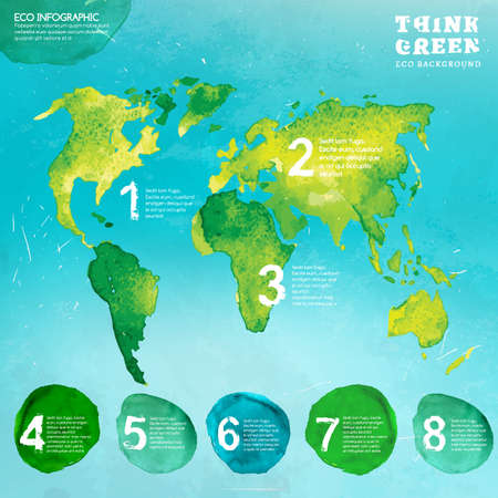 environmentally: Vector watercolor hand drawn painted Illustration of environmentally friendly World map. Think Green. Ecology Concept in natural colors. Infographic elements for poster, brochure and leaflet design