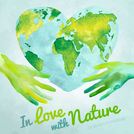 Vector watercolor hand drawn painted Illustration of environmentally friendly World map. Think green and save the Earth. Ecology and protection concept. Globe watercolour vector image. Banco de Imagens - 41250743