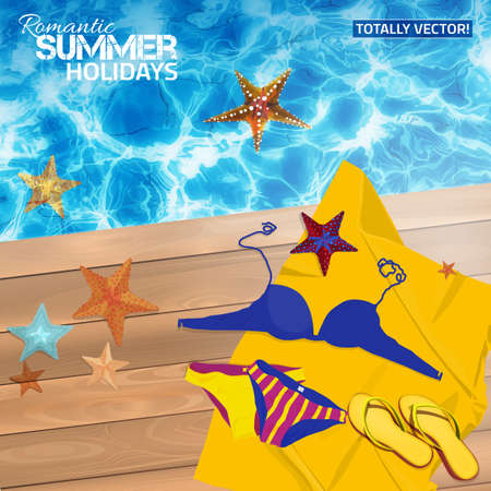 blue water: Beautiful illustration of summer background with blue water surface and sun reflections, flip-flops and starfish on a wooden gangway. Totally vector image. Ideal lake, sea, basin and ocean texture.