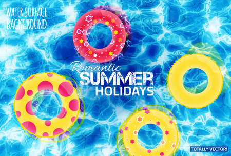 poolside: Beautiful illustration of water surface with sun reflections. Totally vector colorful  image. Bright inflatable yellow and red rubber rings. Ideal swimming pool, basin, pond, sea and ocean texture.