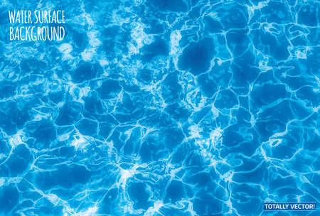Ilustracja z powierzchni wody ze słońcem reflections- całkowicie wektor kolorowy obraz. Idealny basen, morze i ocean tekstury.
