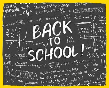 algebraic: The illustration of beautiful black scientific background with handwriting typography. Algebraic class blackboard. Vector fully scalable image with typography handwritten text. Back to School concept.