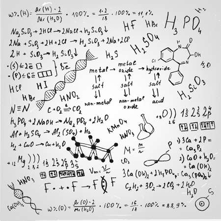 scalable: The illustration of beautiful scientific background with black handwriting typography. Chemical class blackboard. Totally vector fully scalable image.