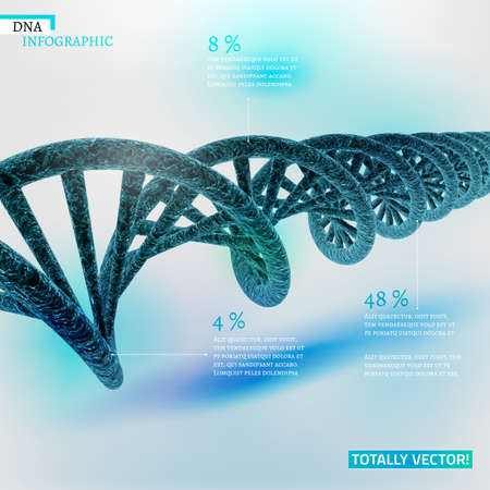 life science: The illustration of bio infographics with DNA in beautiful realistic style. Ecology, biotechnology and biochemistry concept. Totally vector scalable image for scientific designs. Illustration