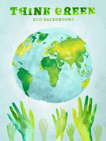 Vector aquarel hand getekende geschilderde Illustratie van milieuvriendelijke wereldkaart. Denk groen en de aarde te redden. Ecologie en bescherming concept. Globe aquarel vector afbeelding. Stock Illustratie