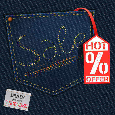denim jeans: The illustration of  beautiful jeans sale element on a textured background. Totally vector image. Additional seamless denim pattern included. Useful for a clothing store promo advertising.
