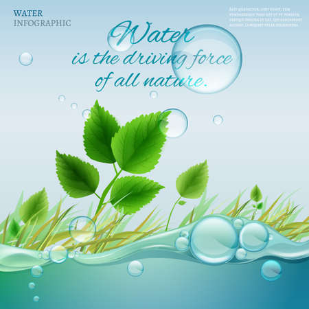 lake shore: Water is the driving force of all nature. The illustration of bio infographics with water bubbles in transparent style. Ecology and biochemistry concept. Natural concept with typography quotation. Illustration