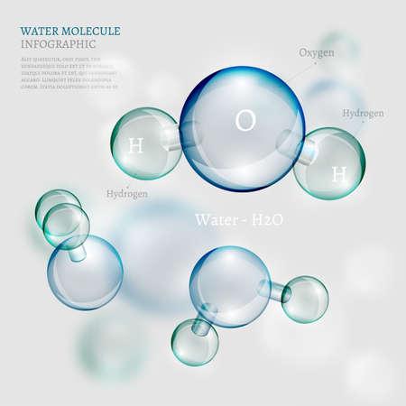 L'illustration de la bio infographie fond avec la molécule d'eau de style transparent. Écologie, la biologie et le concept de la biochimie. L'image Totalement vecteur. Vecteurs