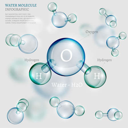 The illustration of bio infographics background with water molecule in transparent style. Ecology, biology and biochemistry concept. Totally vector image. Иллюстрация